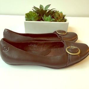 Born Brown Leather Flat Shoes with Buckle 8 1/2